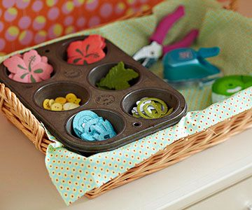 Use muffin tins to organize craft supplies.