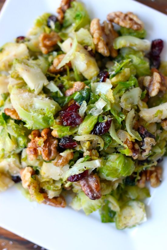 Caramelized Brussel Sprouts with Fresh Garlic, Cranberries, and Walnuts // #salad #dinner
