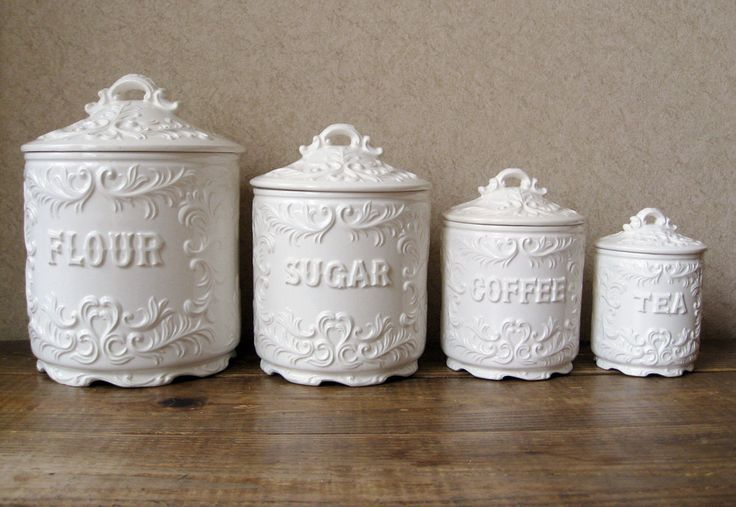 Nice Antique Canister Sets | Vintage Canister Set Antique White With Ornate By  RosyBluVintage