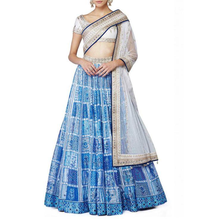 Raw Silk Printed Blue Semi Stitched Lehenga - S17 at Rs 3699