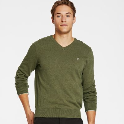 Timberland Men's Williams River V-Neck Sweater Olive Green Heather