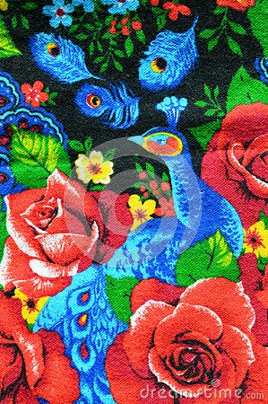 Soft and pleasant brushed flannel with a bright pattern of roses and peacocks like older women for sewing robes and house dresses.