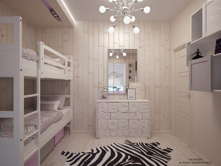 Комната площадью 10 квадратных метров для двух девочек. На небольшой площади удалось уместить зоны для сна, занятий, а также шкафы для одежды и комод с зеркалом. При этом интерьер комнаты выдержан в одном стиле.