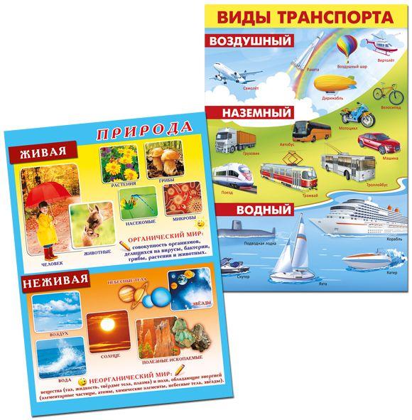Плакаты для оформления стендов - Живая и неживая природа, Виды транспорта
