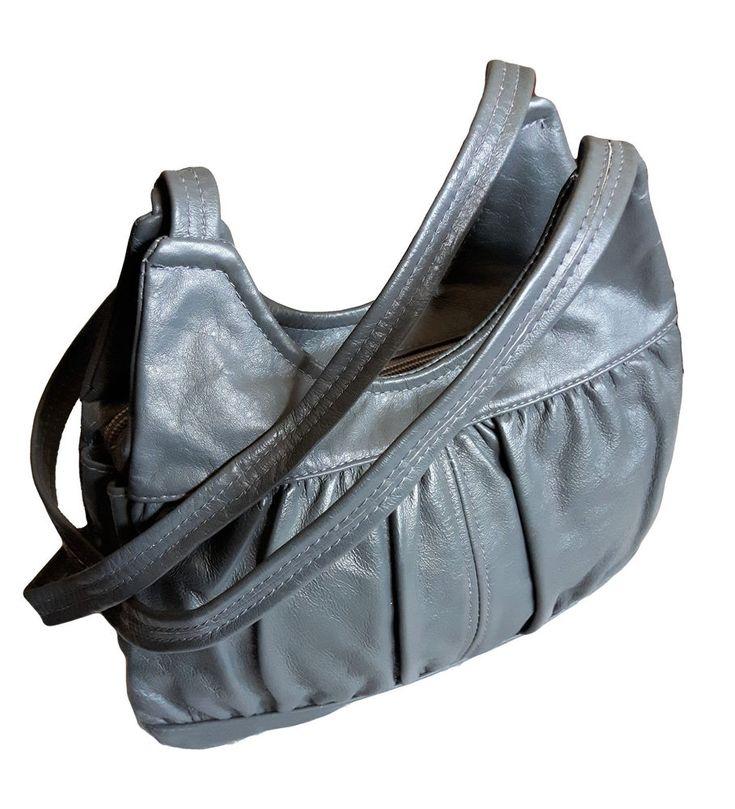 Vintage BRIXTON CANADA Genuine Slate Gray Cowhide Leather Pleated retro HOBO #AuthenticBRIXTONCanadaluxurydesignercarryall #Expandableretrohipstershoulderpursehandbagsatchel