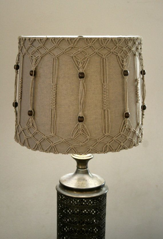 Lampshade with hemp macrame design by SwimmingCool on Etsy