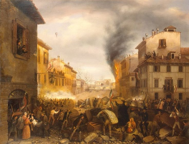 Canella, Porta Tosa in Milano, 1848-1850. Milan, Gallerie d'Italia. They depict the dramatic and agitated moments of the Five Days of Milan in July 1848. In the background, framed by an exact perspective, there is the Porta Tosa, which no longer exists. On the sides there are the houses, the theater of the acts of heroism of the insurgents who embrace the rifle from roofs, balconies and windows.