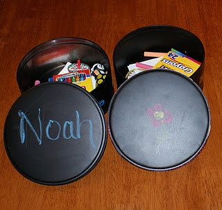 Turn old Christmas tins into chalkboard painted storage.