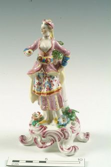 This woman is a Turkish figure made at Bow porcelain factory in London. She is probably a copy of an original crafted by the German manufacturer Meissen. Their artists were inspired by exotic images of the near East recorded by French visitors during the 18th century. c.1765. Ceramics and glass project digital image