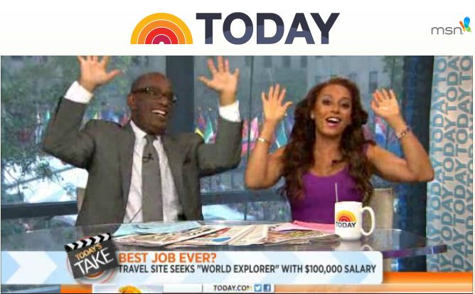 Watch #Jauntaroo's #BestJobAroundtheWorld on the #TodayShow with #AlRoker and #MelB!!! Apply to be the #ChiefWorldExplorer at www.jauntaroo.com