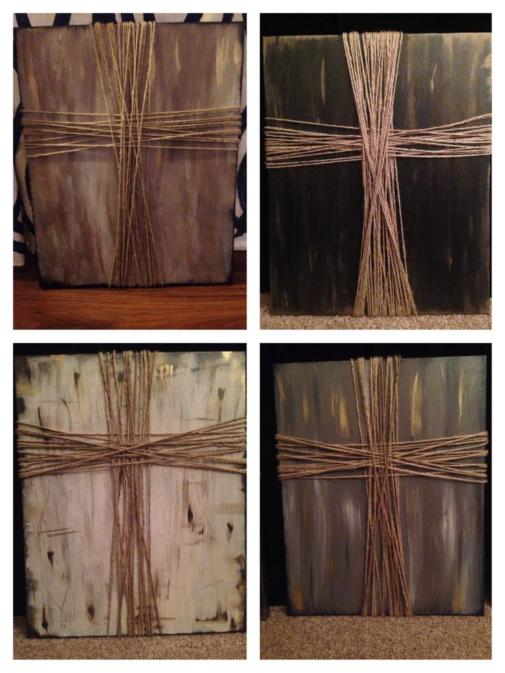 Made these crosses for Christmas presents this year. DIY cross on canvas: Paint background any color and use jute to make the cross