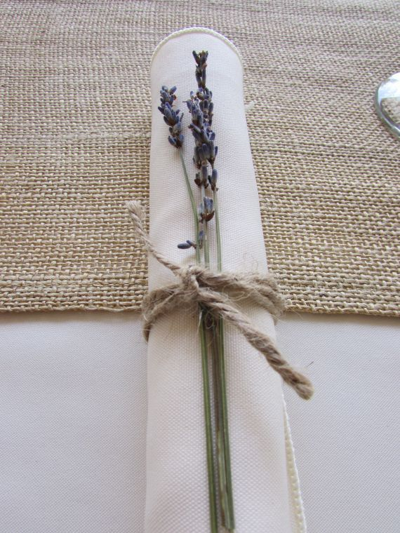 Lavender sprig on napkin - could add Rosemary & wheat (none wilt). Tied with rustic string or cotton ribbon (sage green/cream striped?).