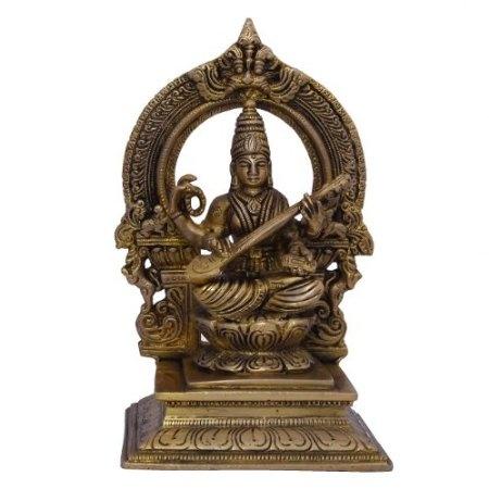 Amazon.com: Goddess Saraswati Hindu Religious Brass Sculpture: Home & Kitchen