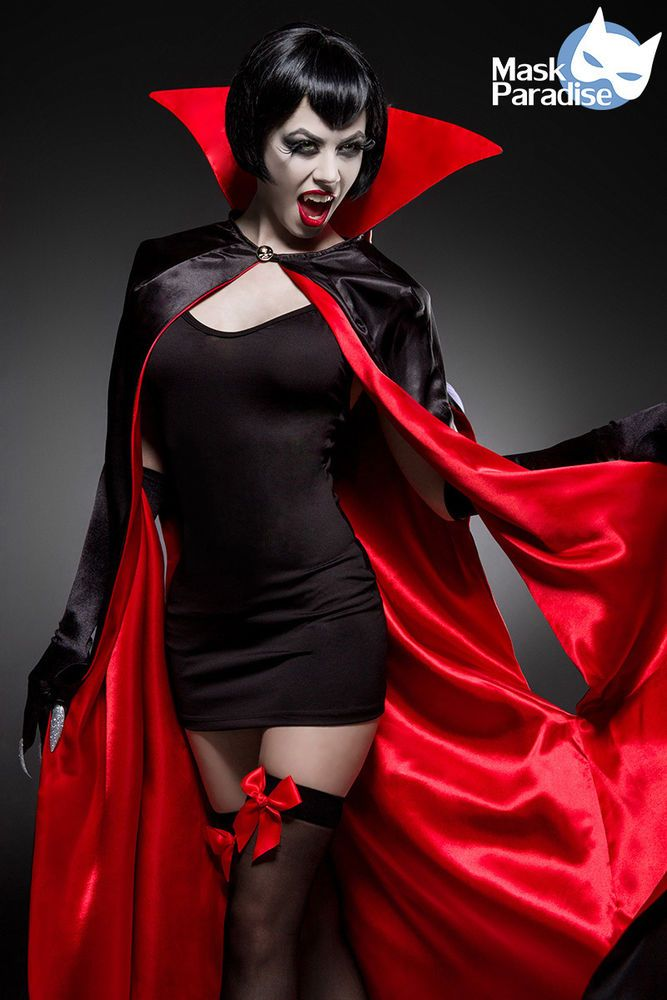 Sexy Vampire Komplettset Hallowen Damen Kostüm Scary Karneval Fasching Gr:XS-M