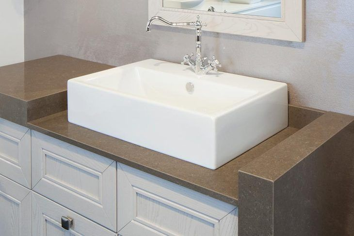 """Quartzforms - quartz """"Cloudy Brown"""" bathroom top"""