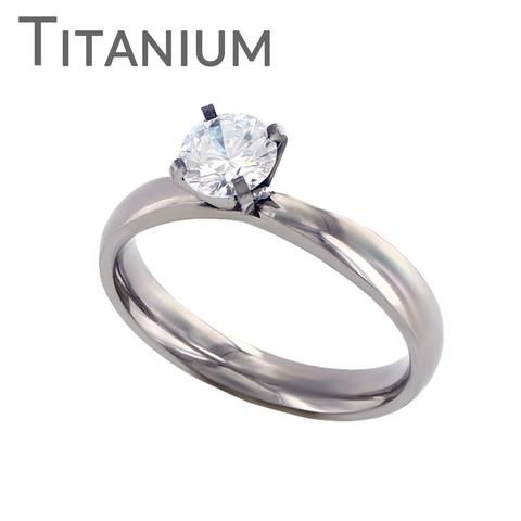 Ever After - Round CZ Stone Detailed Titanium Ring | Blue Steel Jewelry, featuring Stainless Steel, Tungsten and Titanium Jewelry