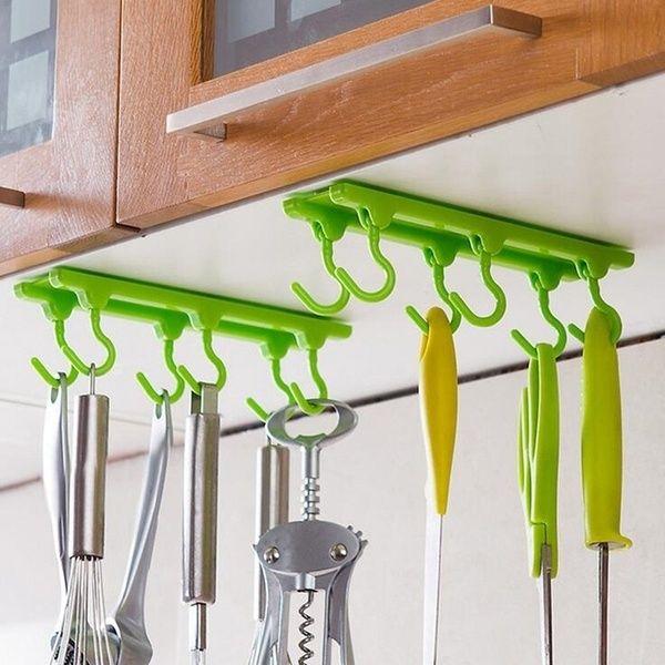 Kitchen Utensils Rack Holder Ceiling Wall Cabinet Hanging Rod