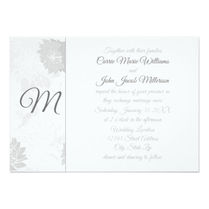Gray Elegant Floral Monogram - Wedding Invitation - elegant wedding gifts diy accessories ideas