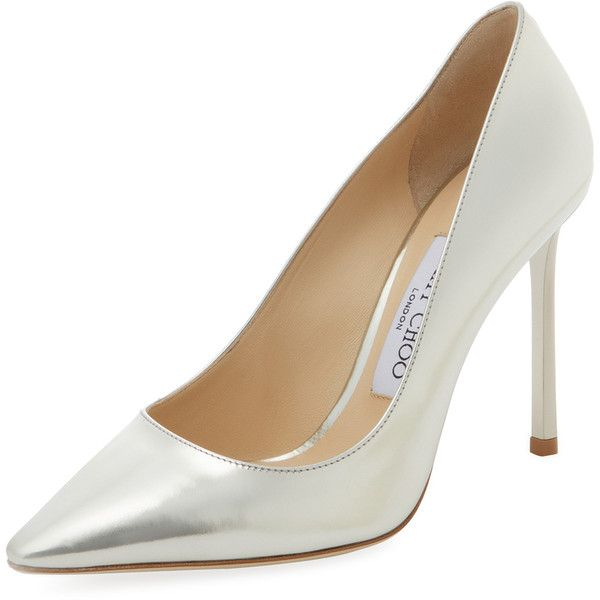 Jimmy Choo Women's Romy 100mm Metallic Leather Pointed-Toe Pump ($399) ❤ liked on Polyvore featuring shoes, pumps, no color, leather pointy toe pumps, metallic pumps, metallic leather pumps, high heeled footwear and pointed toe pumps