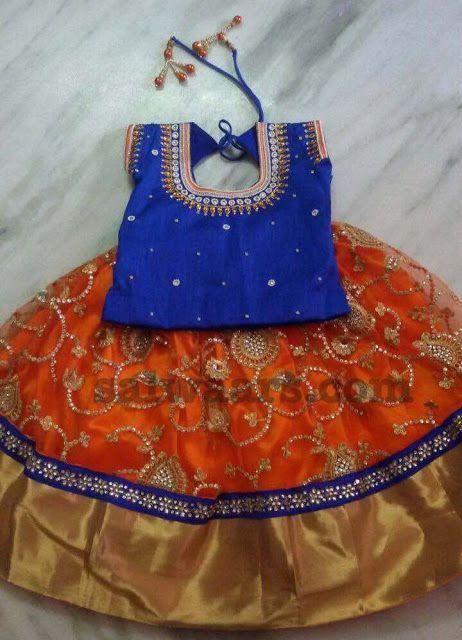 Sequence Work Orange Lehenga - Indian Dresses