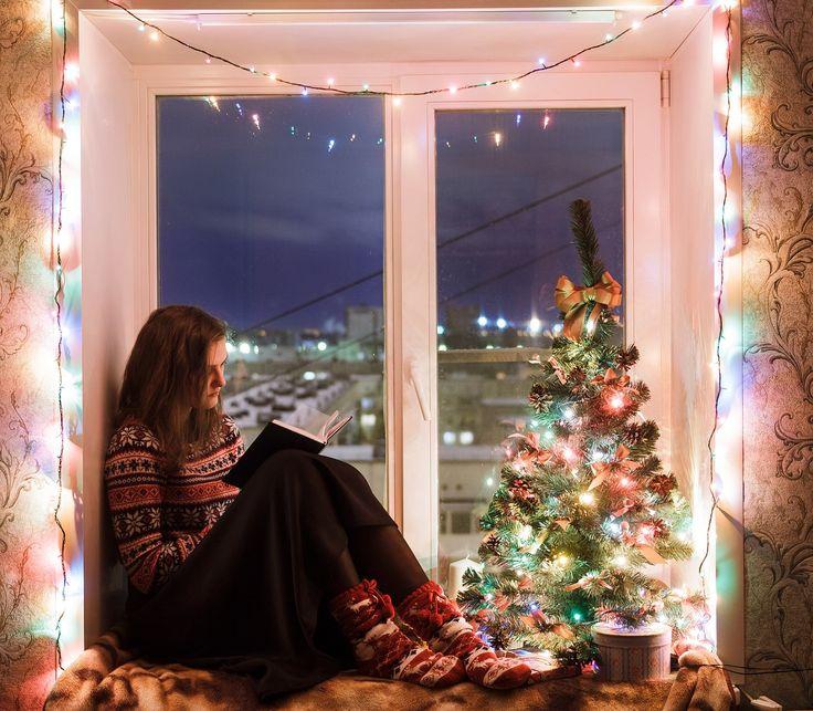 女の子, ウィンドウ, みやげ品, ライト, 光, 熱, コンフォート, クリスマス ツリー, 気分