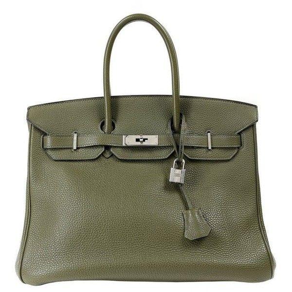 Hermes Olive Green Birkin Bag ❤ liked on Polyvore featuring bags, handbags, green handbags, hermes bag, hermès, olive green handbag and handle bag