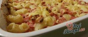 Zapékané těstoviny se sýrem a dietním salámem