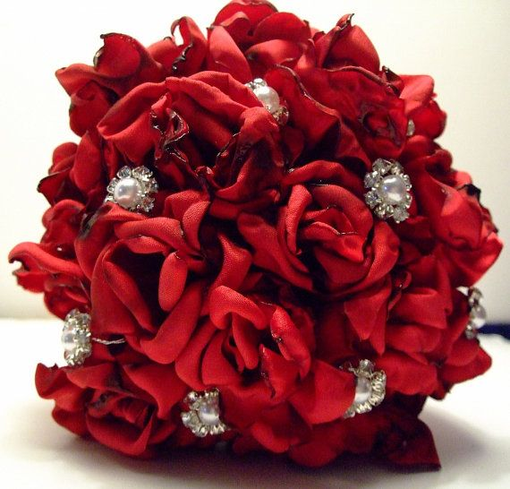Bridal Bouquet, Fabric Flowers Bouquets, Wedding Bouquet, Wedding Flowers on Etsy, $125.00