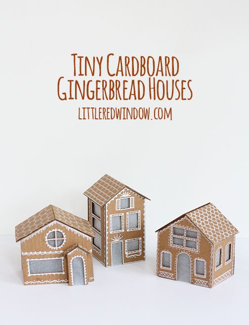 Learn how to make these adorable, tiny cardboard gingerbread houses with instructions from Cassie at littleredwindow.com. They even light up!