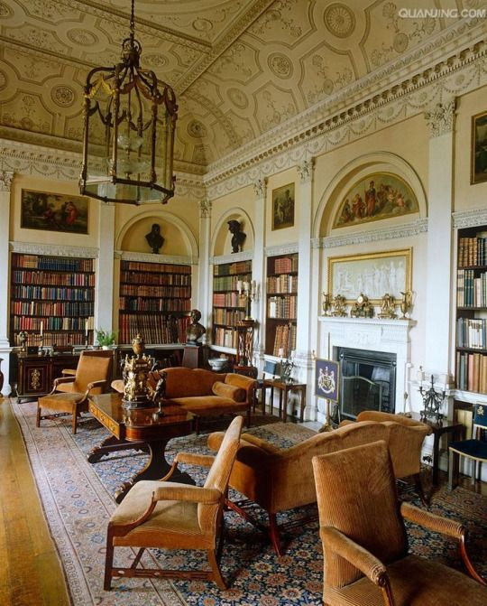 Harewood - In the Old Library the bookcases are divided by Corinthian columns and are surmounted by bronzed busts and paintings by Biagio Rebecca. The ceiling is by Robert Adam