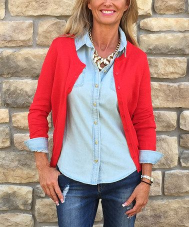 Another great find on #zulily! Red Cardigan - Women #zulilyfinds