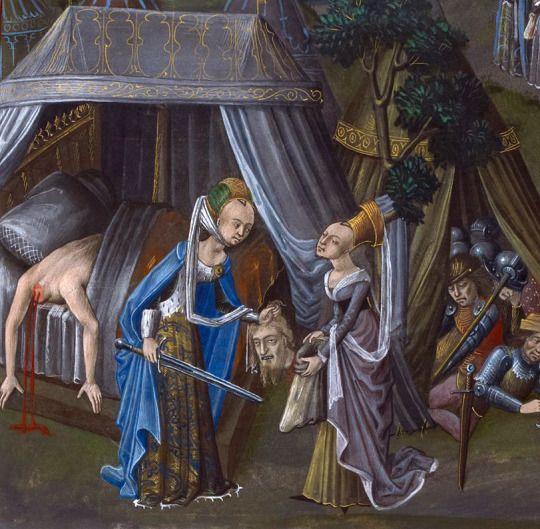 Judith with the Head of Holofernes, Chronique of Baudouin d'Avennes, Bruges ca. 1473-1480 BL, Royal 18 E V, fol. 137v