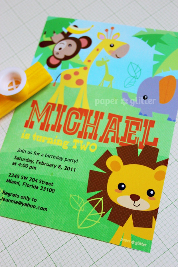 48 best kids bday party ideas images on pinterest anniversary safari jungle animal zoo party invitation for birthday or baby shower invite or thank you stopboris Choice Image