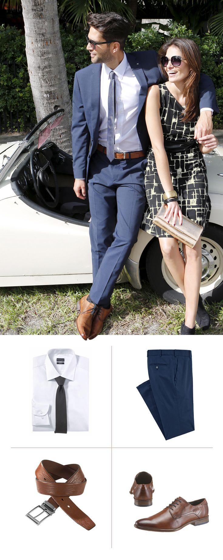 Strahlend weiße Hemden und tiefblaue Anzüge tragen einen Hauch von Sommer in den Business-Alltag – besonders stark in der Kombination von Bruno Banani. Die cognacfarbenen Bugatti Schnürer und der passende J. Jayz Ledergürtel geben dem Look den letzten Schliff.