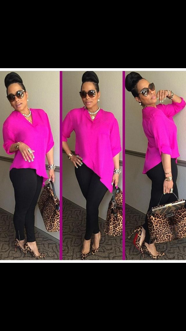 Sun glasses, bold colored shirt, black skinnies, leopard pumps