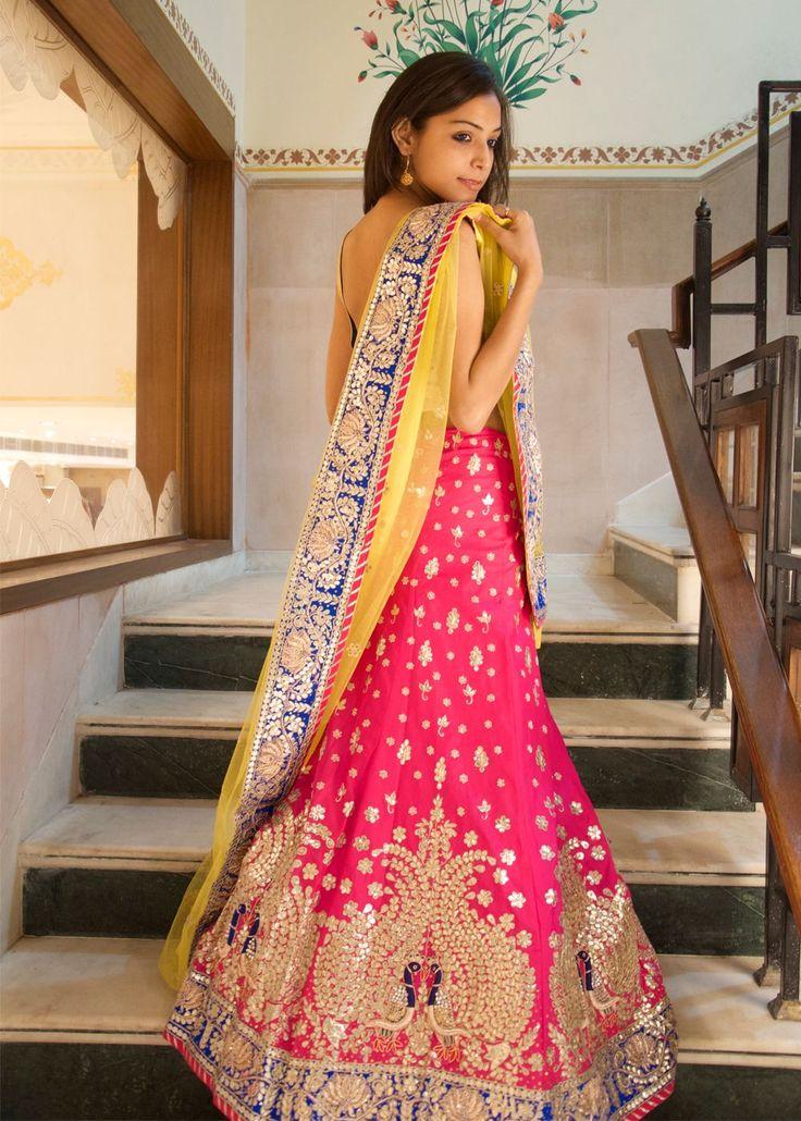 Stunning Pink Embellished #Lehenga With Yellow & Blue Dupatta.
