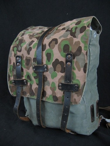 VINTAGE WWII GERMAN ARMY MILITARY CANVAS & LEATHER CAMO ...
