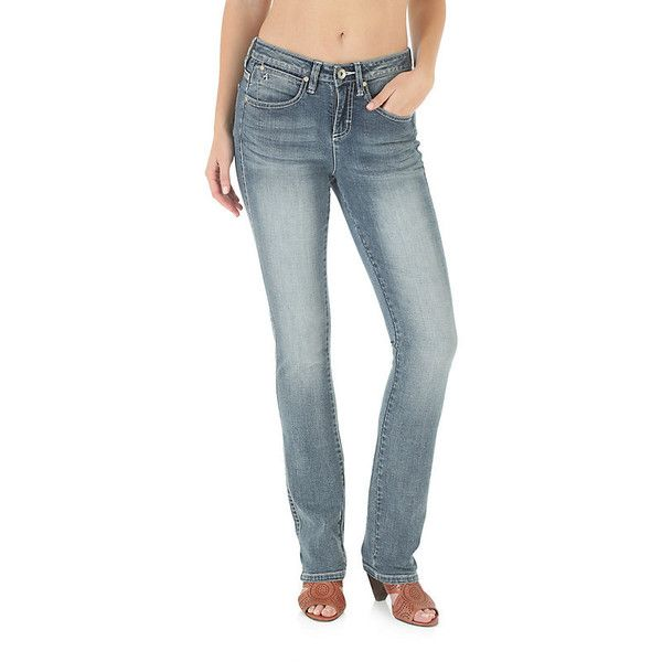 Wrangler Women's Jeans Aura Slimming Jean Straight Leg ($47) ❤ liked on Polyvore featuring jeans, faded blue, women, slim blue jeans, slim straight leg jeans, slim jeans, slim fit straight leg jeans and slim fit jeans