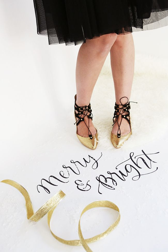 The Lace-up Flat - Metallic Gold and Black - Poppy Barley - Made to your measurements, narrow, standard or wide - #christmaswriting #holidaycalligraphy - Photo by Andrea Hanki