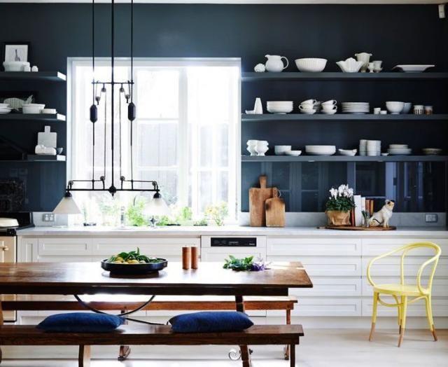 Corner Shelves, Kitchen Shelves, Open Shelves, Kitchen Dining, Dining Room,  Lisa Cohen, Yellow Chairs, Kitchen Colors, Kitchen Ideas