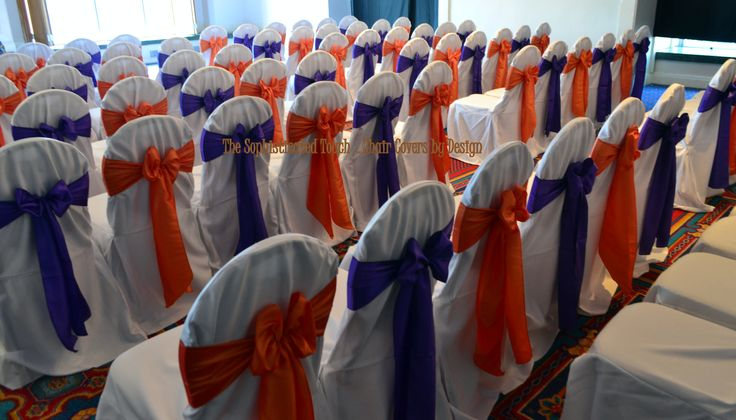 Alternating Royal Purple and Orange Satin Bows on White Chair Covers  The Sophisticated Touch ...Chair Covers by Design