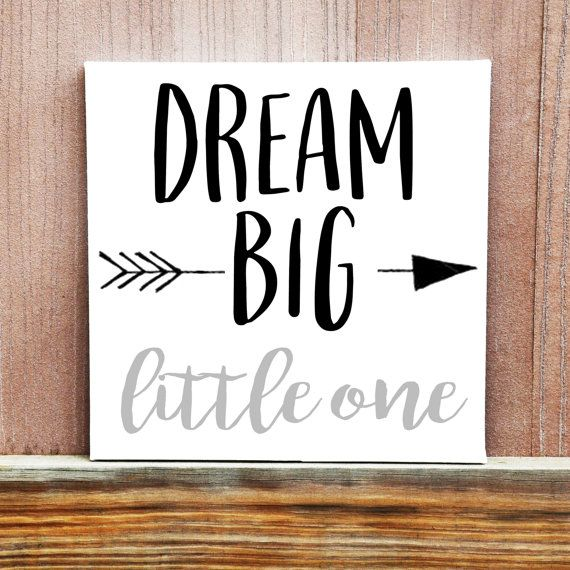Dream Big Little One Hand Painted Canvas, Baby Room Decor, Wall Sign, Home Decor, Baby Boy, Baby Girl, Baby Shower Gift, Nursery Decor
