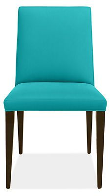 Ava High-Back Chair in Sunbrella Canvas Ocean with Charcoal Legs - Chairs - Dining - Room & Board