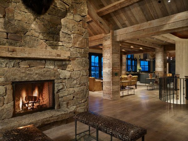 Ranch style house with fireplace montana ranch home - Pictures of ranch style homes interior ...