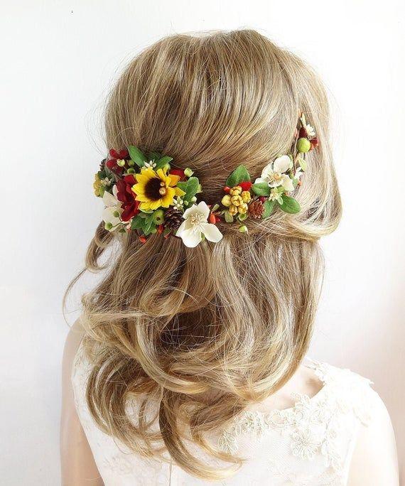 Sonnenblume Kopfschmuck, Sonnenblume Haarspange, Sonnenblume Haarteil, Sonnenblume und Burgunder Hochzeit, Bri