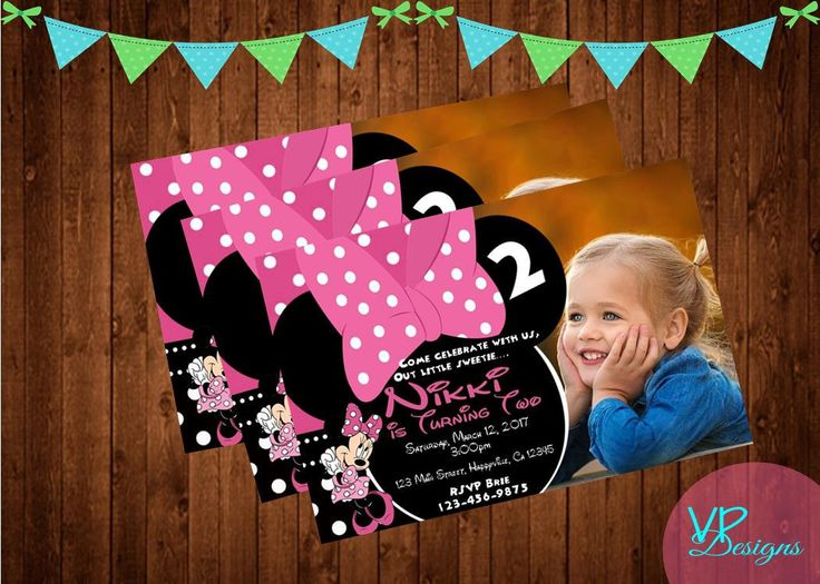 Minnie Mouse Photo Birthday Invitation, DIY Printing, Digital File, Mickey Mouse Club House PLUS FREE thank you card! by InviteMeDesignShop on Etsy