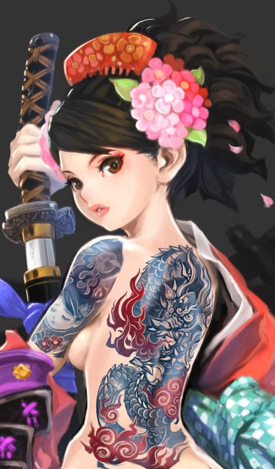 Momohime <3. Dragon tattoo promotional art for MURAMASA: THE DEMON BLADE