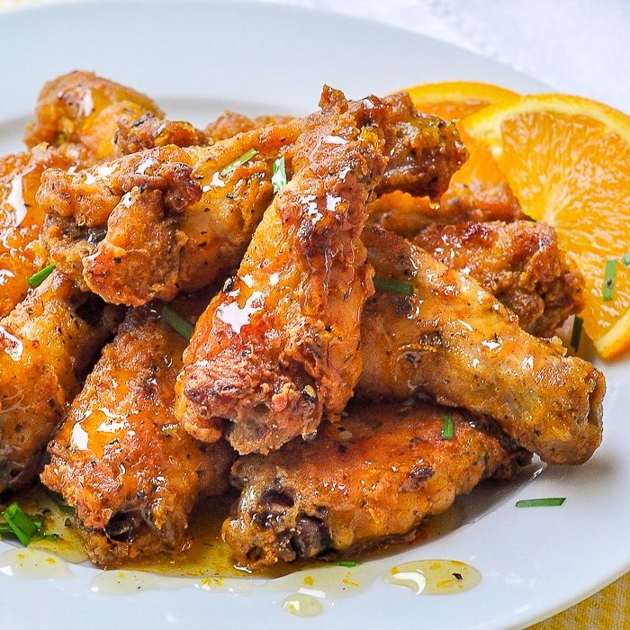 Oven Baked Southern Fried Chicken Wings With Orange Honey