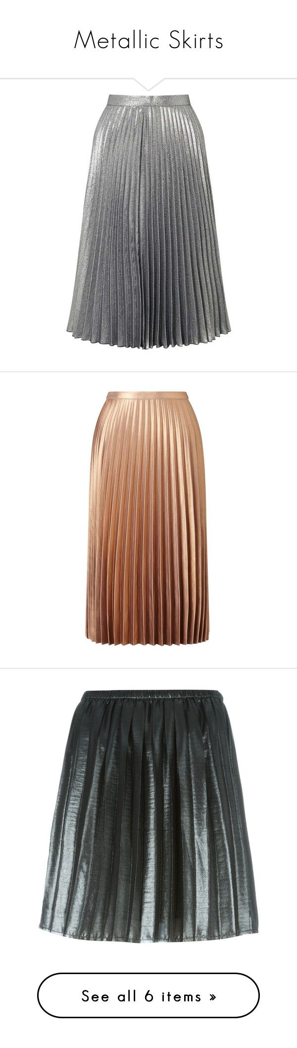 """""""Metallic Skirts"""" by ukelouiza ❤ liked on Polyvore featuring skirts, bottoms, silver metal, sparkle skirts, knee length pleated skirt, metallic pleated skirt, miss selfridge, party skirts, metallic and brown skirt"""