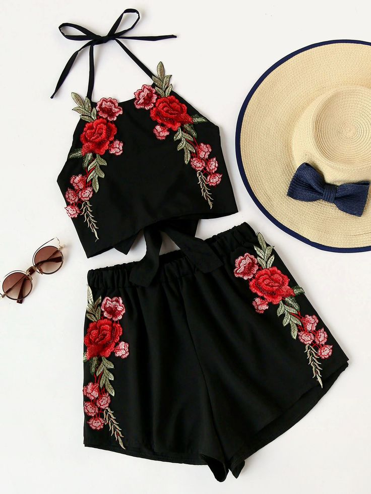 Rose Embroidery Bow Tie Open Back Top And Shorts Set -SheIn(Sheinside)